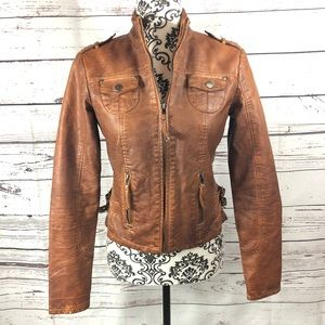 Lord & Taylor Faux Leather Moto Jacket Brown 2